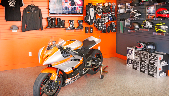 Moto Station Race Bike on the Showroom Floor