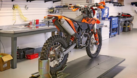 KTM Dirt Bike in the Service Area